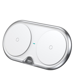 Беспроводное зарядное устройство Baseus Dual Wireless Charger белый (WXXHJ-A0S) - фото 10976