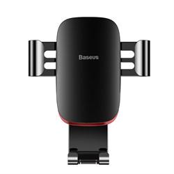 Автомобильный держатель для телефона в дефлектор Baseus Metal Age Gravity черный (SUYL-D01) - фото 12135