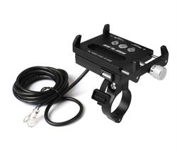 Держатель для телефона/ смартфона на велосипед GUB G-85E с зарядкой USB черный