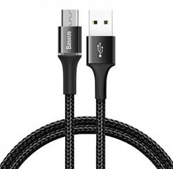 Кабель Baseus Halo Data Cable USB - Micro USB 3A 0.5м черный (CAMGH-A01) - фото 14138