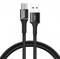 Кабель Baseus Halo Data Cable USB - Micro USB 3A 1м черный (CAMGH-B01) - фото 14147