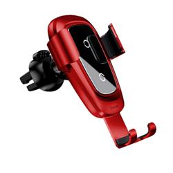 Держатель с беспроводной зарядкой Baseus Metal Wireless Charger Gravity Car Mount красный (WXYL-B09) - фото 14208