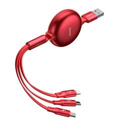 Кабель Baseus Little Octopus 3-in-1 Adjustable Сable USB - Micro USB+Lightning+Type-C 3,5 A 1.2м красный (CAMLT-ZY09) - фото 14662