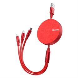 Кабель Baseus Fabric 3-in-1 Flexible Cable USB - Micro USB+Lightning+USB Type-C 3,5A 1.2м красный (CAMLT-BY09) - фото 14679