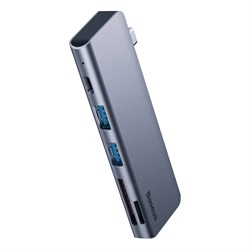 USB-коцентратор Baseus Harmonica 5-in-1 Hub Adapter Type-C (CAHUB-K0G) серый - фото 14697