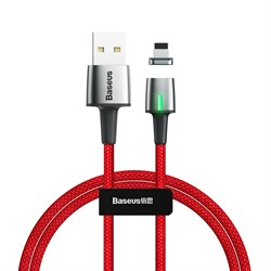 Кабель магнитный Baseus Zinc Magnetic Cable USB - Lightning 2.4A 1м красный (CALXC-A09) - фото 15262