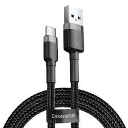 Кабель Baseus Cafule USB - Type-C 2А 3м черный/серый (CATKLF-UG1) - фото 15288