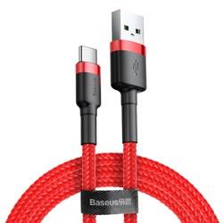 Кабель Baseus Cafule USB - Type-C 2А 3м красный/черный (CATKLF-U09) - фото 15368