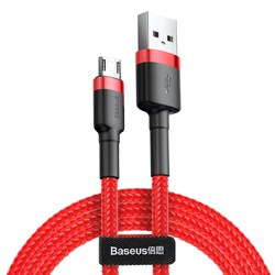Кабель Baseus Cafule USB - Micro USB 1,5A 2м красный/черный (CAMKLF-C09) - фото 15778