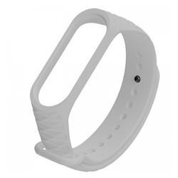 Ремешок силиконовый ребристый для Xiaomi Mi Band 3/4 серый - фото 15950