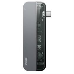 USB-концентратор Baseus Transparent Series Type-C Multifunctional HUB Adapter Type-C to 2xType-C / 2xUSB3.0 / HDMI серый (CAHUB-TD0G) - фото 17024