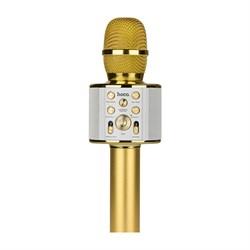 Караоке микрофон со встроенной колонкой Hoco BK3 Cool sound золотой - фото 18055