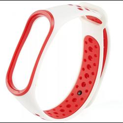 Перфорированный ремешок для Xiaomi Mi Band 3/4 NIKE белый/красный - фото 18636