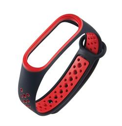 Перфорированный ремешок для Xiaomi Mi Band 3/4 NIKE черный/красный - фото 18642