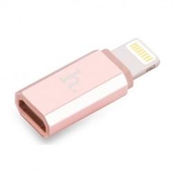 Адаптер-переходник Hoco Lightning to Micro USB розовый - фото 19947