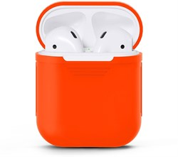 Чехол-футляр для Apple Airpods case Cheap silicone оранжевый - фото 20078