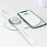 Беспроводное зарядное устройство Baseus Smart 2 in 1 Wireless Charger Type-C Version, поддержка Apple Watch 4, белый (WX2IN1P20-02)