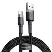Кабель Baseus Cafule USB - Type-C 2А 2м черный/серый (CATKLF-CG1)