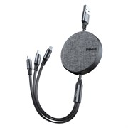 Кабель Baseus Fabric 3-in-1 Flexible Cable USB - Micro USB+Lightning+Type-C 3,5A 1.2м серый (CAMLT-BYG1)