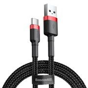 Кабель Baseus Cafule USB - Type-C 3А 1м черный/красный (CATKLF-B91)