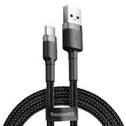 Кабель Baseus Cafule USB - Type-C 2А 3м черный/серый (CATKLF-UG1)