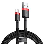 Кабель Baseus Cafule USB - Type-C 2А 3м черный/красный (CATKLF-U91)