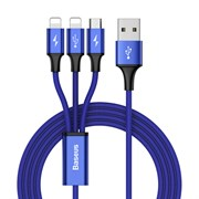 Кабель Baseus Rapid Series 3-in-1 micro USB+Dual Lightning 3A 1,2м синий (CAMLL-SU13)