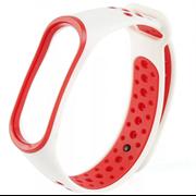 Перфорированный ремешок для Xiaomi Mi Band 3/4 NIKE белый/красный
