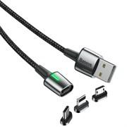Кабель магнитный Baseus Zinc Magnetic Cable Kit IP+Type-C+Micro 1м черный (TZCAXC-A01)