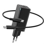 Сетевое зарядное устройство Baseus GaN Mini Quick Charger C+C 45W EU (CCGAN-M01) черный